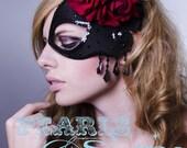 Half Mask Fascinator Black Satin Crystals Red Roses hair accessories Spanish Headdress Elegant Prom punk goth Bridal Headwear Pearls & Swine