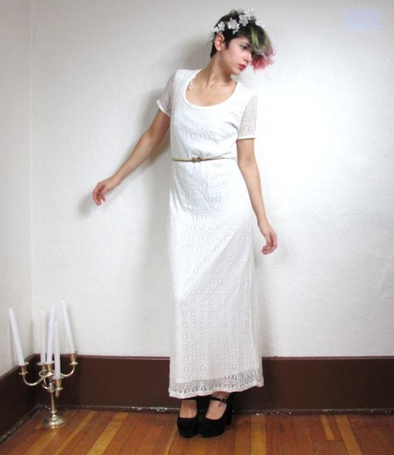 90s Boho Wedding Crochet Lace Dress (S/M)