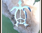 Peace Turtle Sterling Silver Lost Wax Cast Pendant