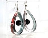 Dark red dangle earrings // Paper jewelry