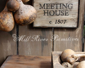 Aged Primitive Early Settlers Meeting House Wood Sign