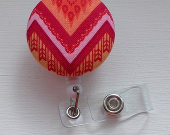 Pink and Orange Chevron Stripe - Retractable ID Badge Holder - RN Badge Reel - Nursing Badge - Name Tag Holder - Badge Clip