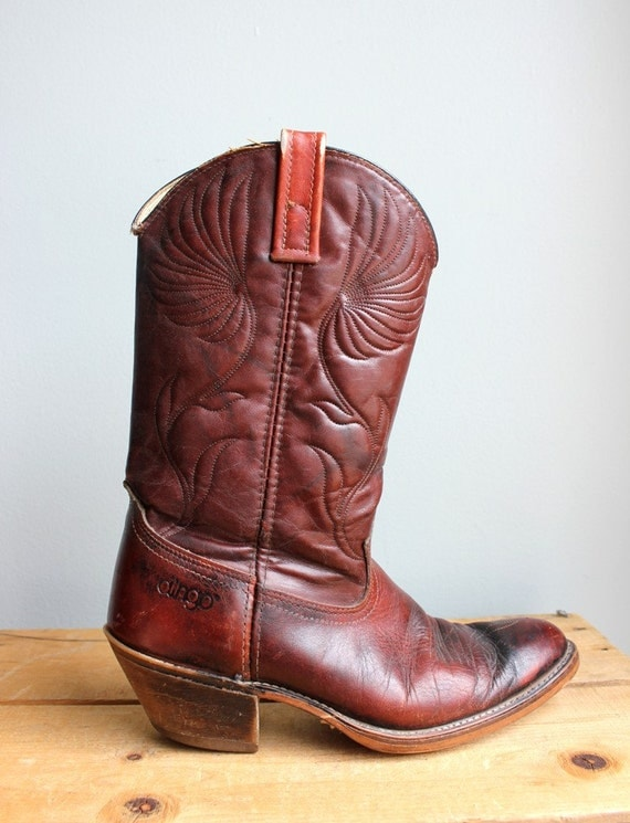 Vintage Mahogany Leather Stitched Cowboy Boots