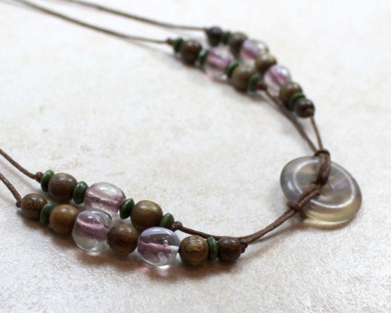Nursing Necklace with Calming Fluorite in Purple and Green Breastfeeding Baby Wearing
