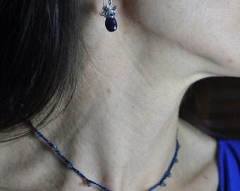 Gemstone Silk all day necklace / Carnelian, Iolite, Onyx, Ruby, Smoky Quartz