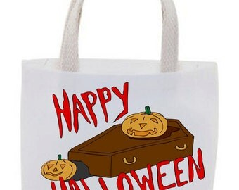 Halloween - Cotton Canvas Tote Bag - Mini Tote Bag - Goody Bag - Set of 4