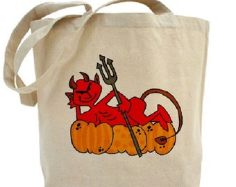 DEVIL - Cotton Canvas Tote Bag - Trick or Treat Bag - Halloween