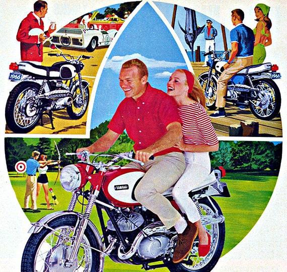 1960s Yamaha Sportcycle Advertisement - Retro Mid Century Motorcycle Paper Ephemera Print Wall Art Home Decor Nostalgic Sixties Summer Gift