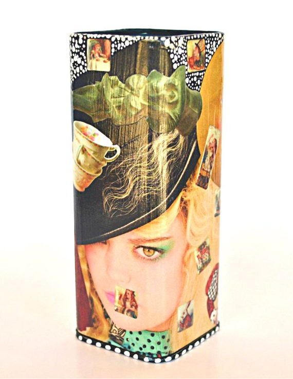 Twisted Alice Upcycled Art - Hand-Painted Decoupage Alice in Wonderland Canister Tin - Whimsical Recycle Mad Hatter and March Hare Tea Party