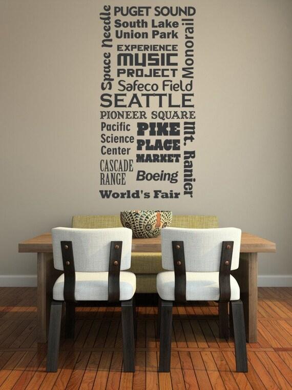 Seattle Decal, Dorm Decor, Man Cave Decor, Modern Nursery Decor, Typography Wall Decor, College Dorm Decorations, Apartment Decor