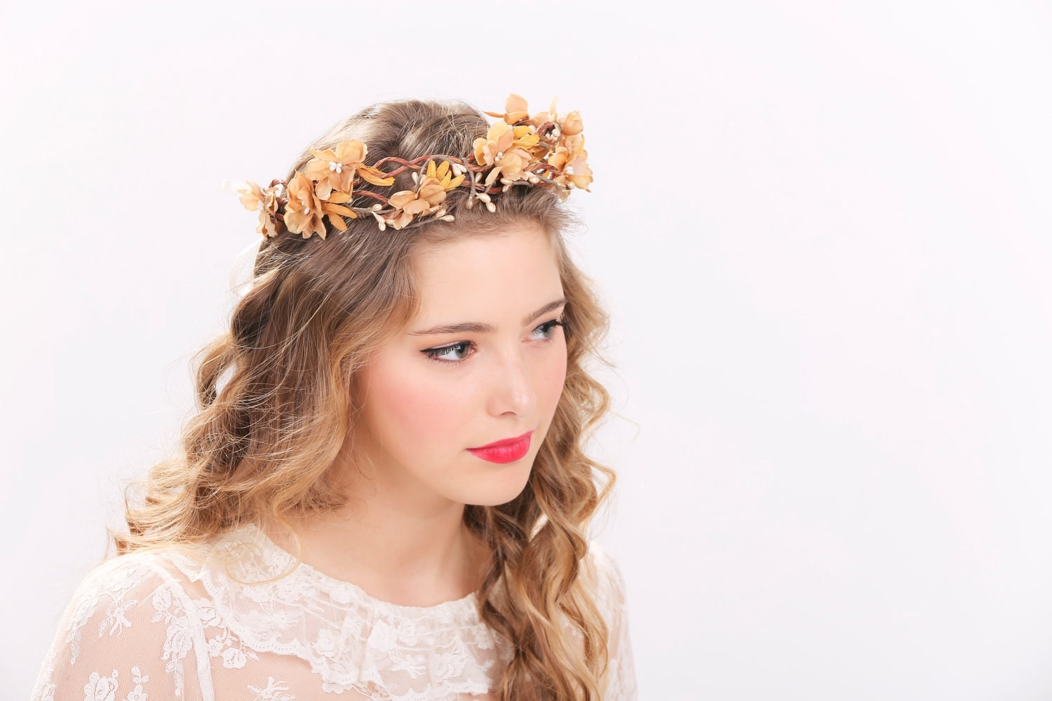 rustic flower crown bridal headband flower crown headpiece