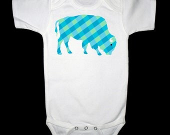 Blue and Green Plaid Buffalo Shirt or Bodysuit