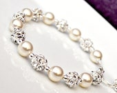 Pearl Rhinestone Bridal Bracelet, Art Deco Bridal Bracelet, Bridal Jewelry, Pearl Bracelet