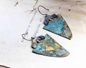 Triangle verdigris earrings verdigris patina on brass triangle rustic urban