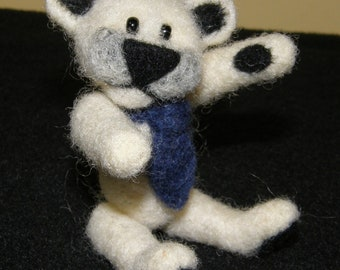 Needlefelted Wool Polar Bear Mini with Blue Tie