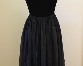 SALE***Vintage Black Party Dress, Rhinestone Straps, Velvet Bodice, Chiffon Skirt