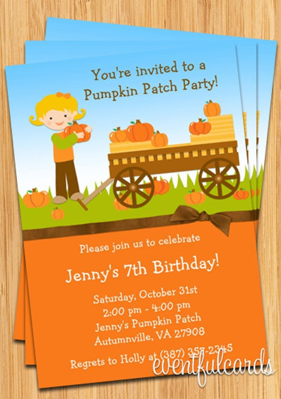 kids fall pumpkin patch birthday party invitation  boy or girl, Birthday invitations