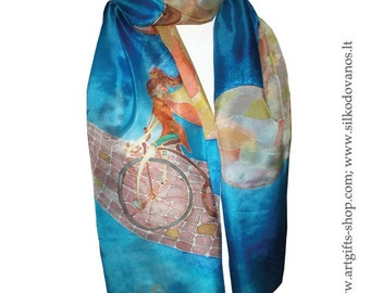 Painted Silk scarf  girl in blue