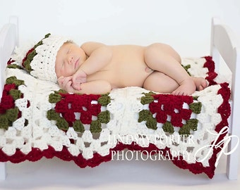 Afghan Blanket and Hat Photography Newborns Hand Crochet Knit Baby HAT and Blanket Photoprop all Babies Infant Girl Boy Photo Shoot New Baby