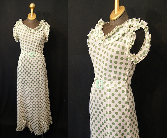CLEARANCE Lovely 1930's Sheer White w/ Green Polka Dot Dress w/ Matching Belt Vintage Party old hollywood VLV   - Size S