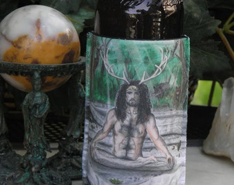 Collapsible Beverage Insulator with Cernunnos Art