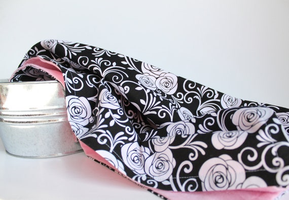 Baby Swaddle Blanket in Black and White Roses, Cotton Candy Pink Flannel Baby Blanket, Classic Rose Print Baby Swaddling Blanket
