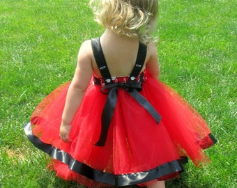Red Minnie Dress: red and white polka dots with black lined tutu dress, wrap around for easy on and off, birthday party or trip, comfortable