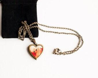 Heart Locket, Red Poppy Art locket, Photo Locket, Red Poppy Locket, Romantic Art Locket for Her