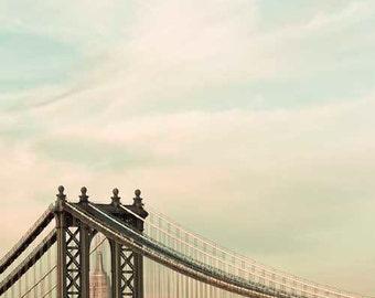 Mint Brown New York City Photography, Empire State Building, Manhattan Bridge, NYC Art, Office Decor