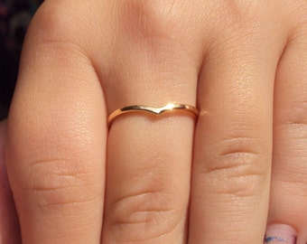 Set of 3 ,  Chevron, etsy jewelry, ring, gold, band, 18g thick, 14kt, gold fill, smooth finish, gifts for her