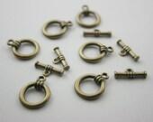 10 sets. Zinc Antique Brass Toggle Clasps Necklace Closure Bracelet Closure Decorations Findings. TC Br 354