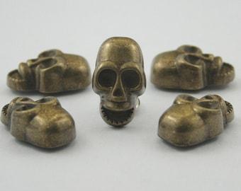 5 pcs Antique Brass Zinc Skull Head Rivets Studs Decorations Findings. KRSKBR1119