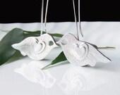 Silver Bird Earrings, Silver Love Bird Earrings, Dangly Earrings