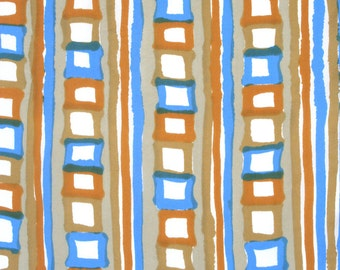 Loosely geometric Vera scarf in blue, tan and caramel. Oblong, silk blend, hand lolled, stripes, squares, linear, retro, abstract.