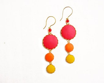 Polymer Clay Statement Earrings, Red Yellow Dangle Earrings, Color Dot Earrings, Drop Earrings