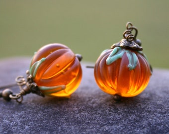 Halloween Pumpkin Earrings, Thanksgiving Jewelry, Fall, Harvest Jewelry, 1 Pair