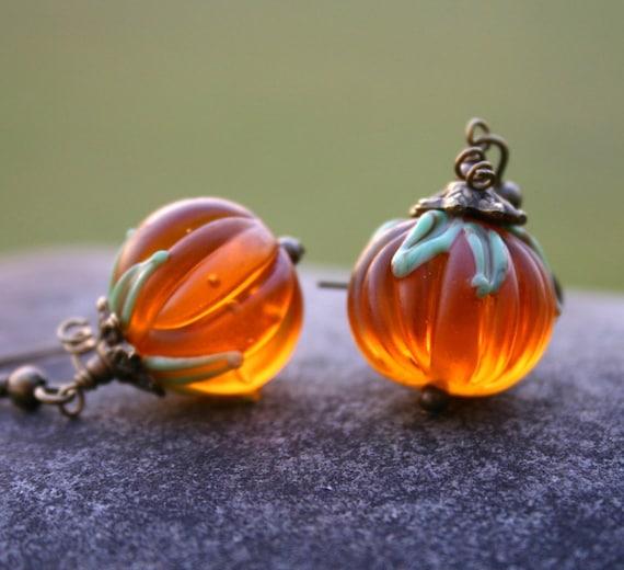 pumpkin earrings thanksgiving jewelry fall