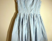 RESERVED Blue Striped Cotton Sateen 50s Day Dress