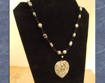 Heart Pendant Necklace Pewter Art Nouveau Wire Wrapped Hematite Beads Black Statement  (M-158)