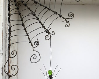 "Czechoslovakian Green Spider Dangles From 12""  Barbed Wire Corner Spider Web"