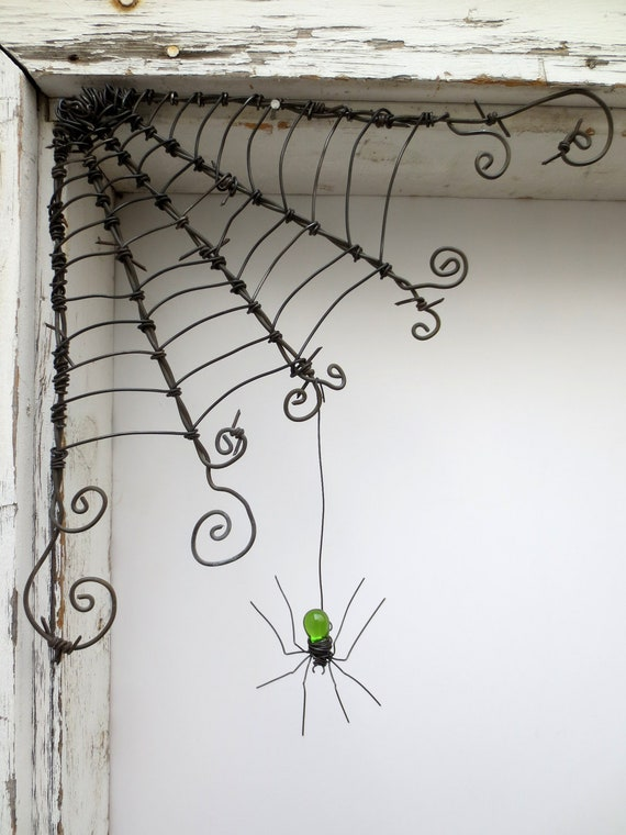 """Czechoslovakian Green Spider Dangles From 12""""  Barbed Wire Corner Spider Web"""
