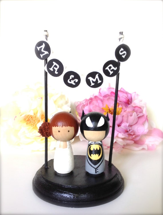 Kokeshi Superhero WEDDING CAKE TOPPER with Mr and Mrs Bunting Stand Geekery Cake Topper