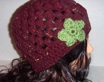 Burgundy Speckled Crochet Beanie, Wine Color, Flecks and Green, Crochet Flower Hat