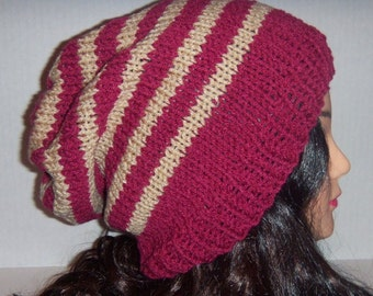 Dark Rose and Tan Knit Slouchy Beanie Striped Hat