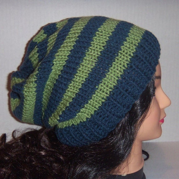 Slouchy Beanie Hat, Blue and Sage Green Hat, Mens Knit Hat, Skaters Hat
