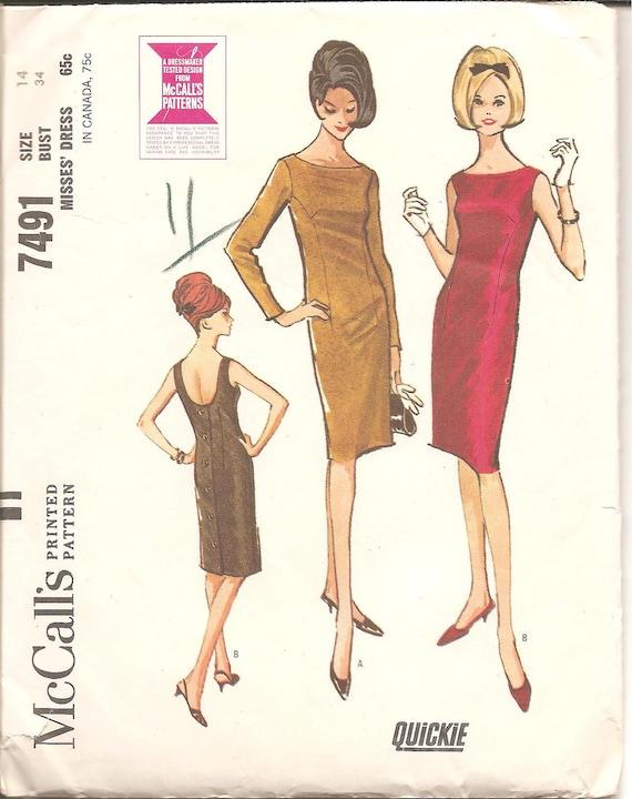 1960s Womens Low Back Sheath Dress - McCall's 7491 Vintage Pattern - Bust 34 Size 14
