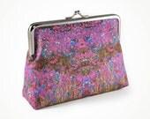 Crimson and purple flower purse