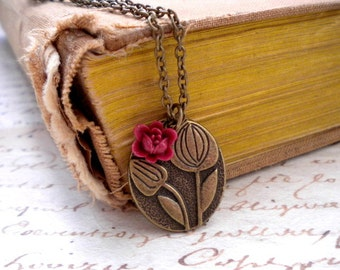 Tulip Necklace Maroon Flower Necklace Antique Bronze Charm Flower Pendant Burgundy Necklace Maroon Jewelry Bridesmaid Gift Flower Jewelry