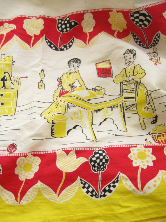Kitchen Border Print Vintage Cotton Fabric By The Yard