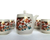 Vintage 60s Japanese Tea Set Red, Gold and Green Blossoms